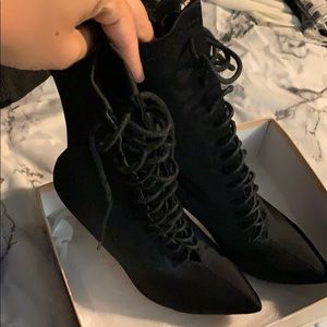Simmi Celia Black Lycra Lace Up Pointed Boots